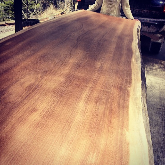 Just got this monster into the shop - available slab 11 feet long, 48 wide - gorgeous Sapele