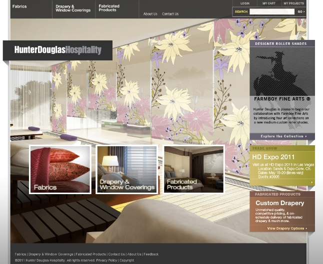 Website layout and content