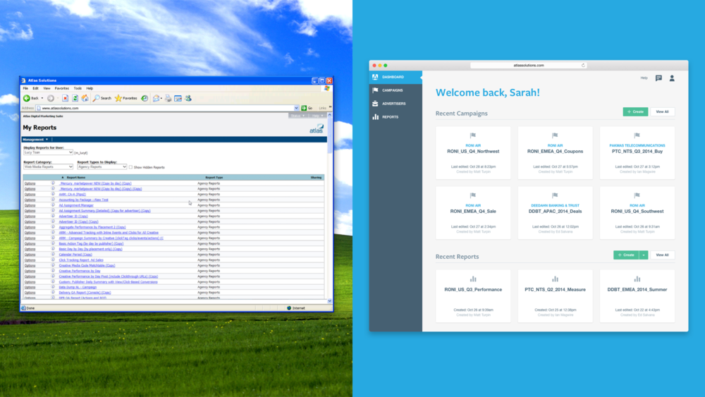 A comparison of the product dashboard that our team inherited (left) and the one we re-designed and launched (right).