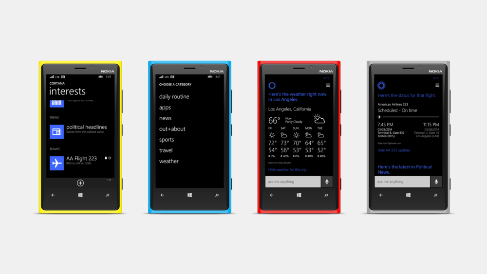 The screens for the Interests feature on Cortana were designed in collaboration with the Windows Phone team.