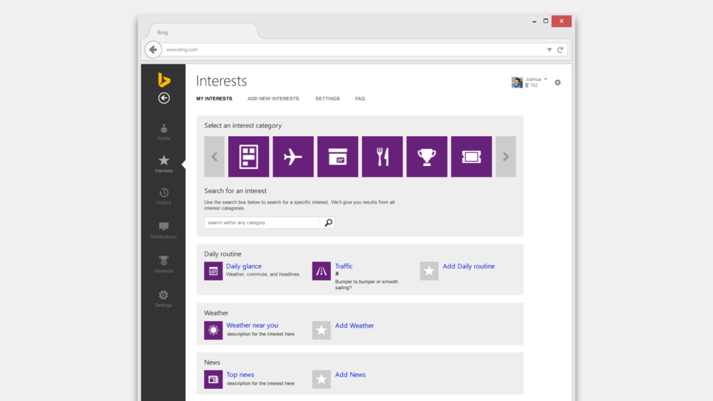 The menu page for to add and manage Cortana Interests on Bing.