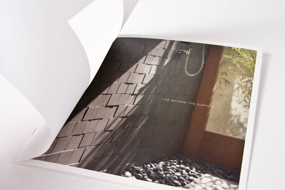 The print brochure used die-cuts to reveal beautiful, inviting photography to showcase the product.