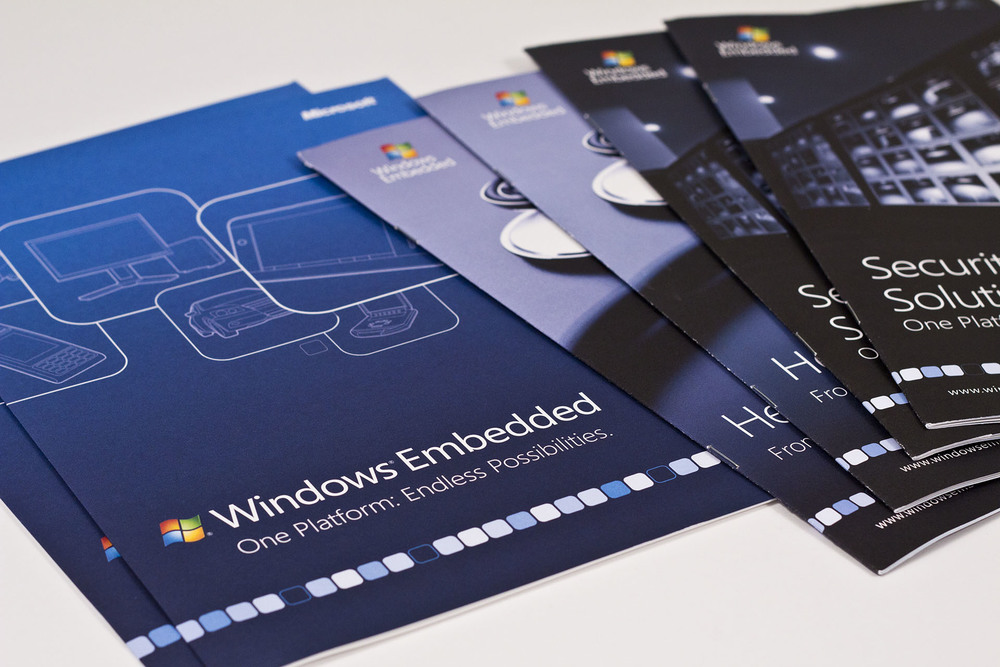 Consistency across for the Microsoft Windows Embedded brand started with their line of customer-facing brochures.