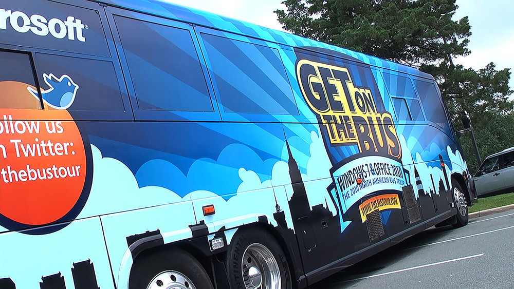 The actual bus was branded well with a large auto graphic wrap.