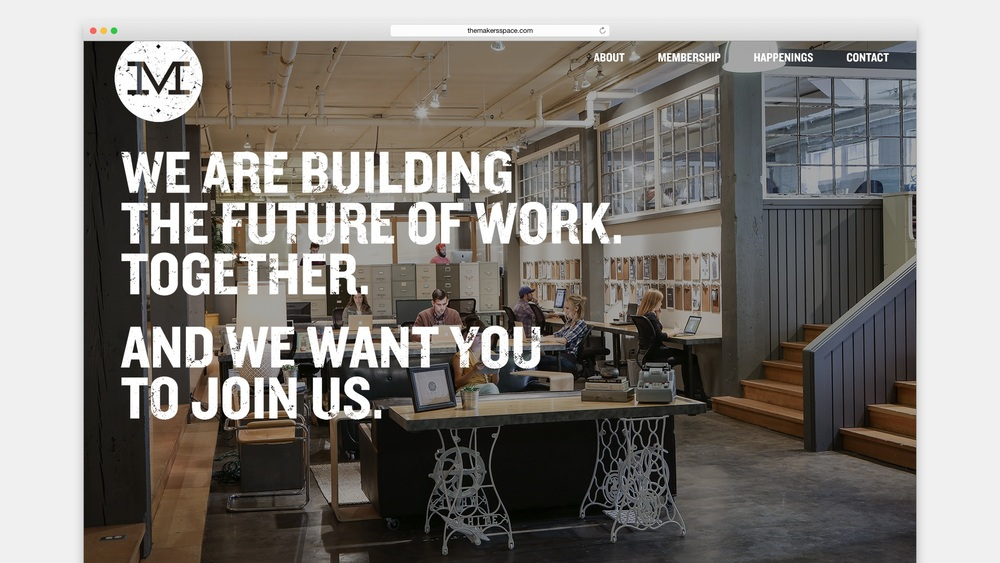 The website layout was designed to highlight the beautiful, collaborative office space.