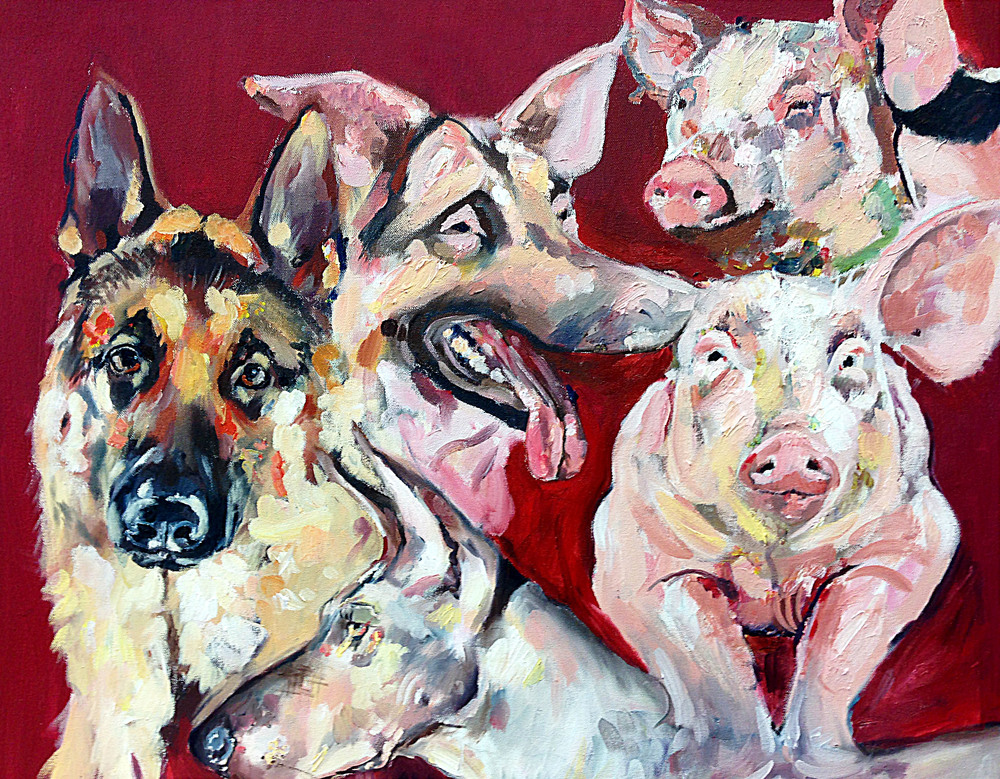 Pigs and Dogs , 2015, oil on canvas