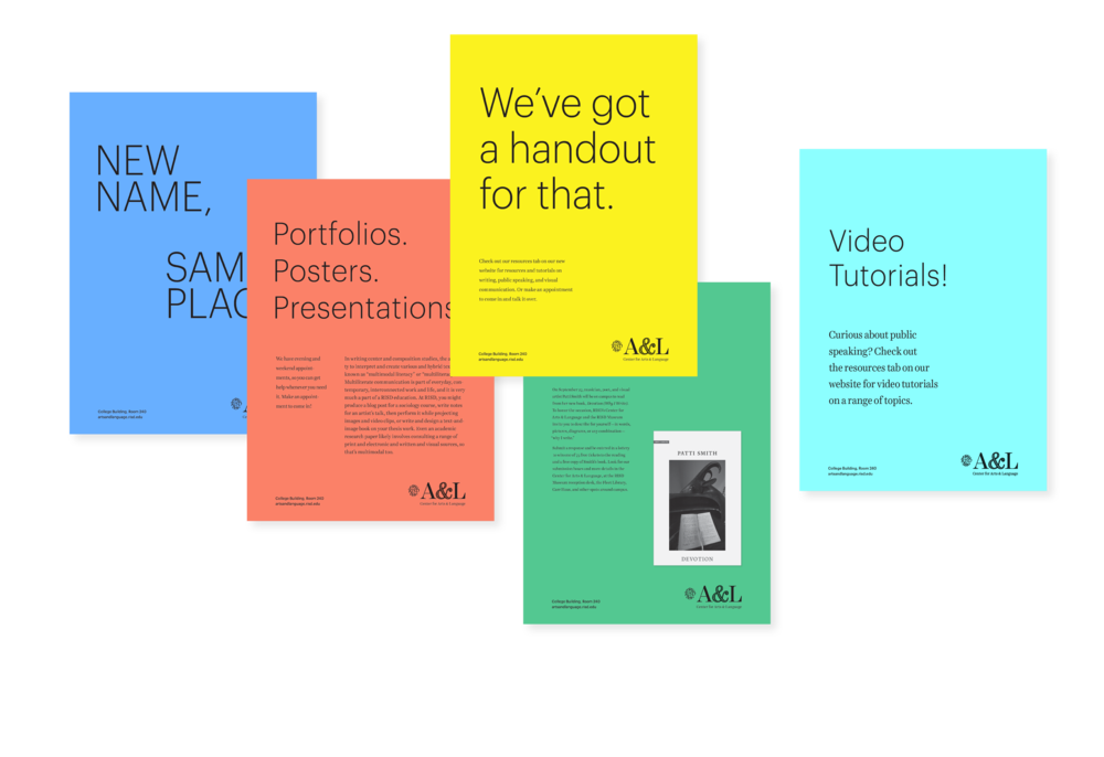 Poster system developed for use at A&L, in keeping with their self-publishing model.