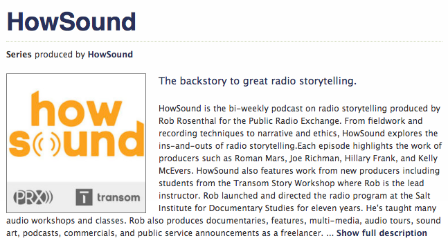 The  HowSound  podcast is an invaluable learning and listening tool for EAL students and all FPR journalists.