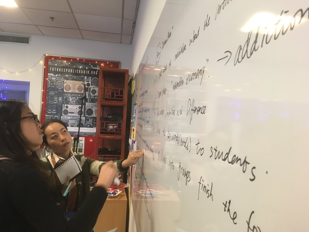 One of the crucial pieces in planning is identifying the need for student engagement and talk time. Helping guide Chinese teachers to feel more comfortable with a student-centered classroom is a goal of OMS.