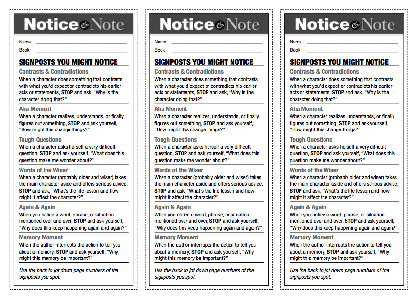 Notice and Note Fiction PDF