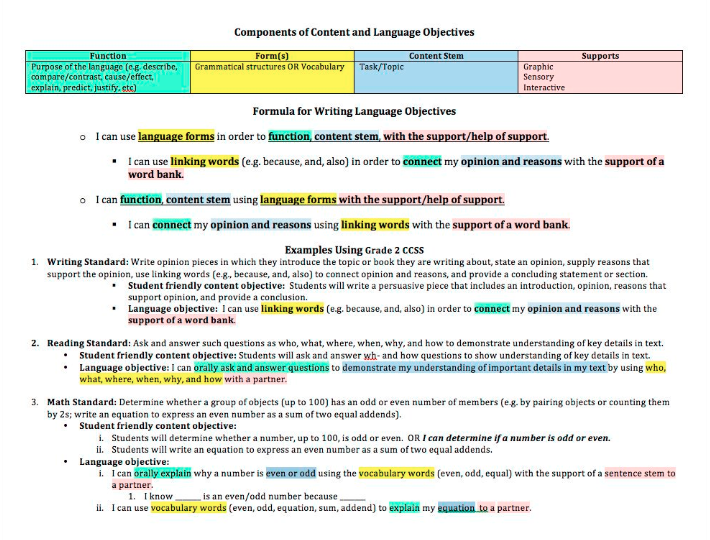 Frameworks for writing language objectives