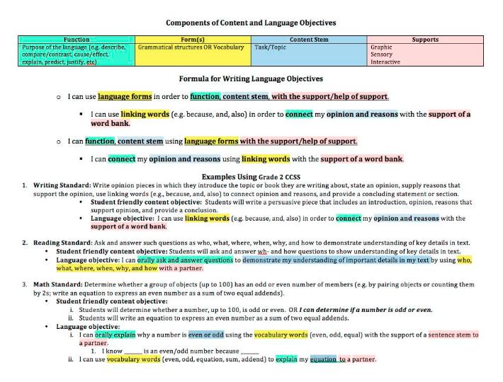 Frameworks for writing language objectives