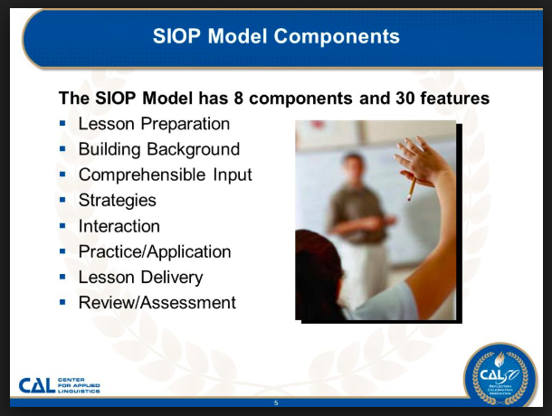 The SIOP Model* is a research-based and validated model of sheltered instruction that has been widely and successfully used across the U.S. for over 15 years Professional development in the SIOP Model helps teachers plan and deliver lessons that allow English learners to acquire academic knowledge as they develop English language proficiency.