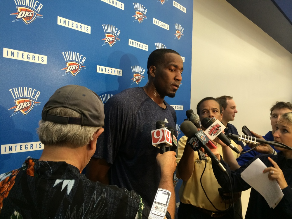 Kendrick Perkins speaking to reporters after shootaround.