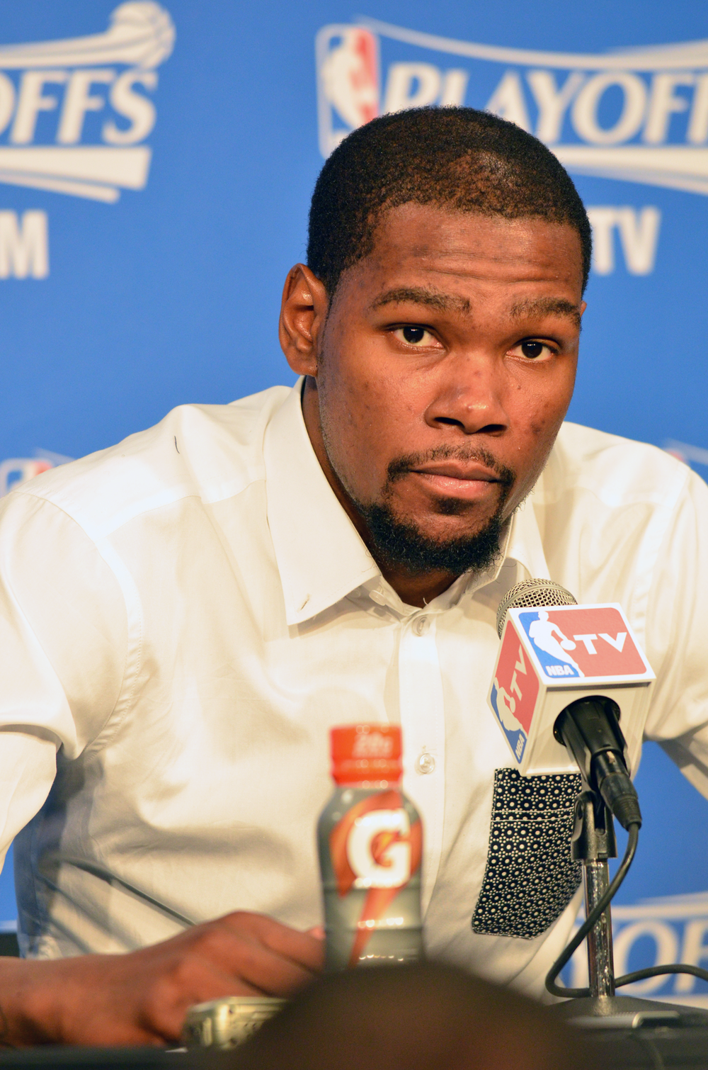 Kevin Durant speaks to the media after the Thunder's 111-105 overtime loss to Memphis Monday night. Photo by Torrey Purvey for InsideThunder.com