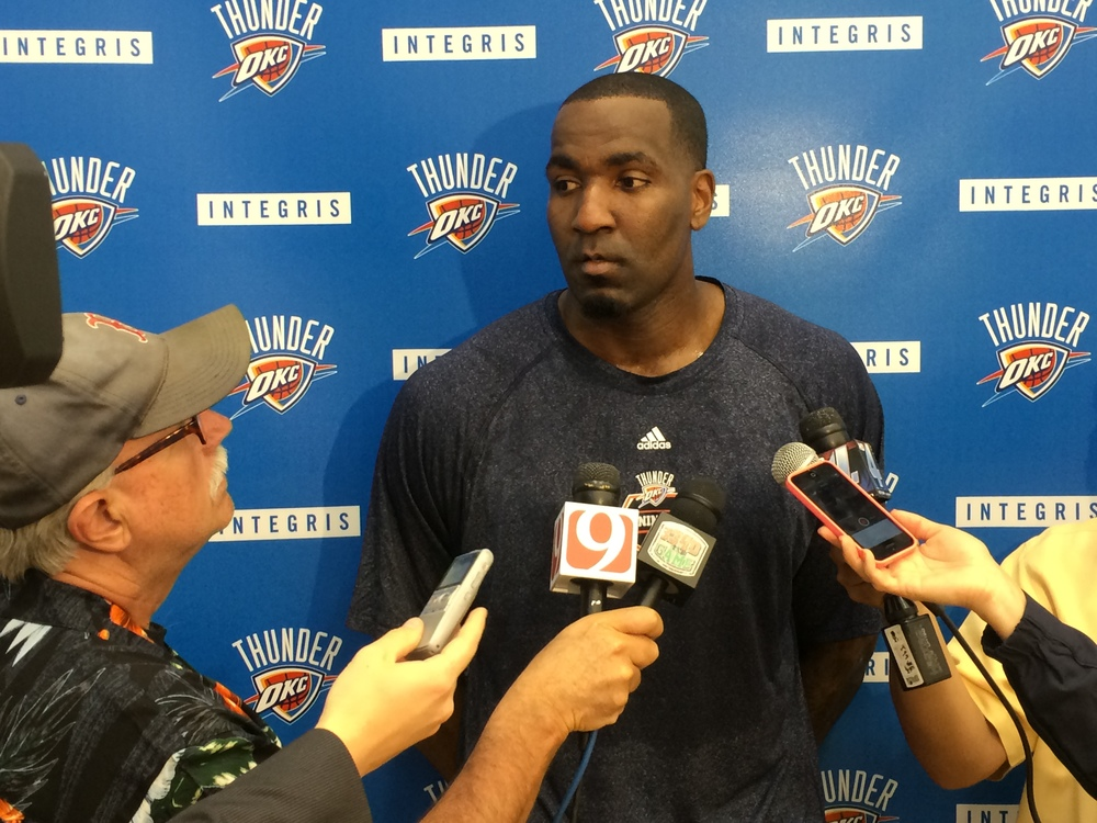 Thunder center Kendrick Perkins speaks with the media at the INTEGRIS Health Thunder Development Center. Photo by Jeremy Griffin for InsideThunder.com