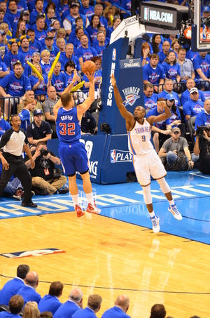 Blake Griffin shoots over Serge Ibaka in the Thunder-Clippers playoff series. Photo By Torrey Purvey for InsideThunder.com