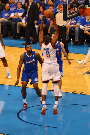"He's baaaaack! Serge Ibaka dunks on the Clippers earlier in the playoffs. Today Ibaka has been upgraded from ""out"" of the playoffs to ""day-to-day"" with his calf injury. Photo  By Torrey Purvey for InsideThunder.com"