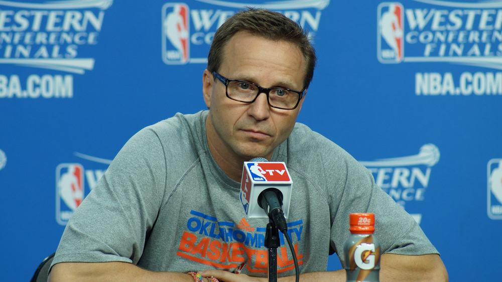 Scott Brooks speaks with reporters before Game 3 - Jeremy Griffin for InsideThunder.com