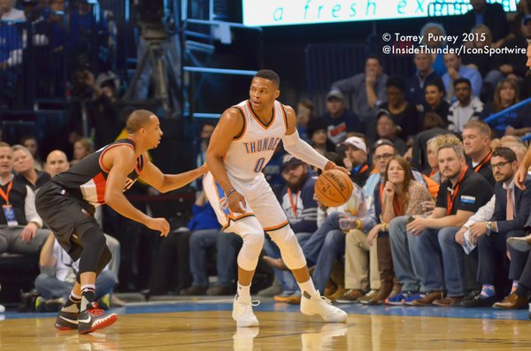 Russell Westbrook backs down defender. (Torrey Purvey/InsideThunder.com