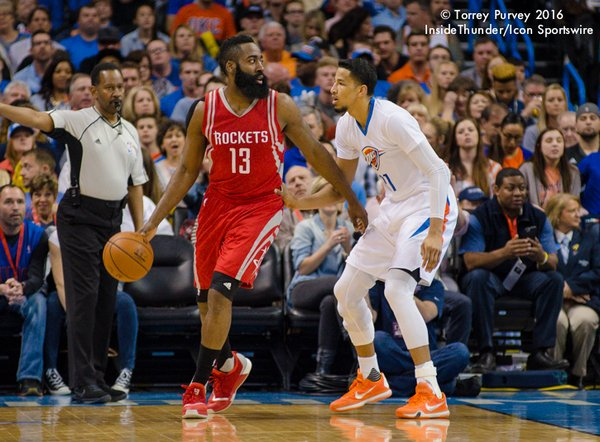 Andre Roberson vs. James Harden. Photo: Torrey Purvey/InsideThunder.com