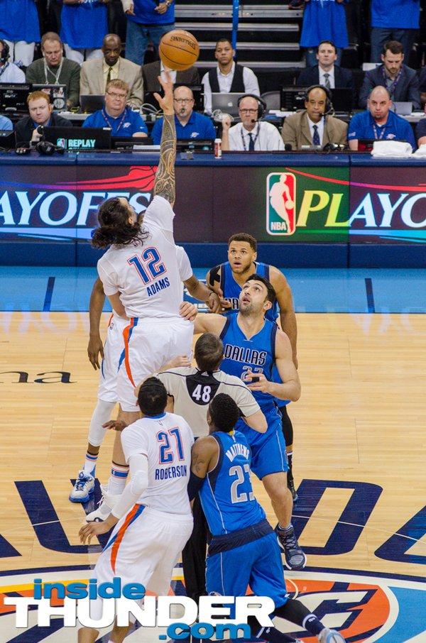 Thunder forward Steven Adams (12) winning the opening tipoff. Photo: Torrey Purvey/ InsideThunder.com