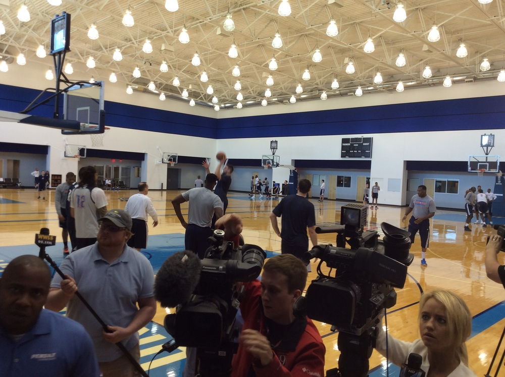 Local media set up to interview Thunder players and coach Billy Donovan at the INTEGRIS Health Thunder Development Center on Wednesday afternoon. (Photo by Randy Renner for InsideThunder.com)