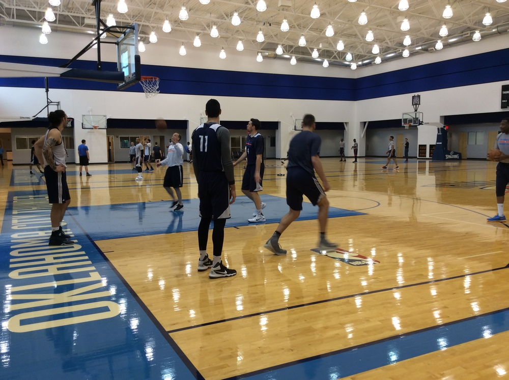 Thunder bigs working out during shootaround.
