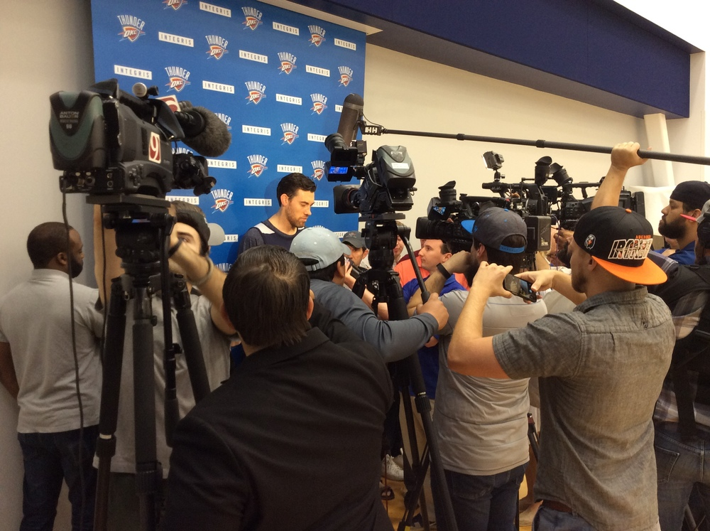 Nick Collison talks to reporters after the Thunder's Sunday morning shootaround. Photo By Randy Renner/InsideThunder.com