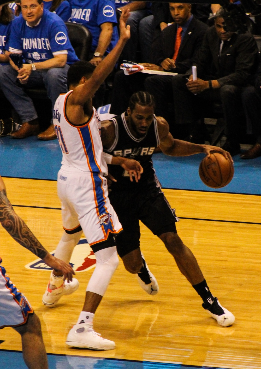 Thunder guard Andre Roberson defends against Spurs star Kawhi Leonard in Game 6 of the Western Conference Semi-Finals. (Photo By Sam Murch/InsideThunder.com)