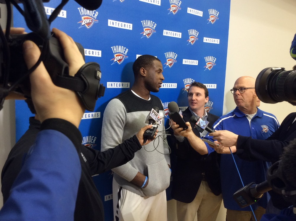 Thunder guard Dion Waiters talks to reporters after practice. (Photo By Randy Renner/InsideThunder.com