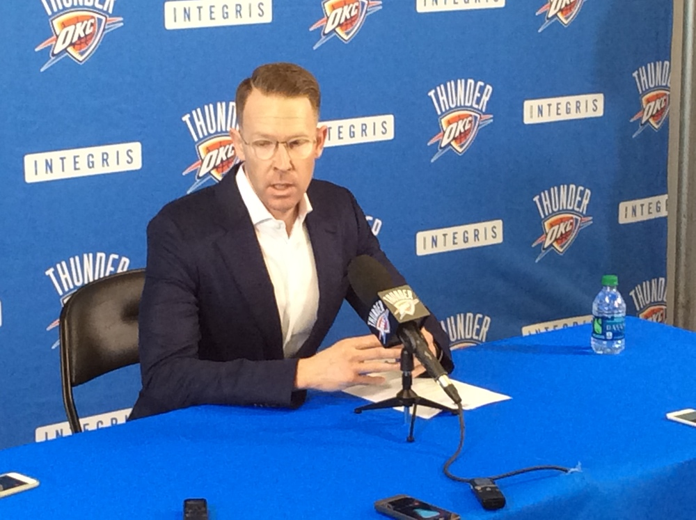 OKC Thunder Vice President & General Manager Sam Presti speaking to reporters at the INTEGRIS Health Thunder Development Center on Monday morning. (Photo By Randy Renner/InsideThunder.com)
