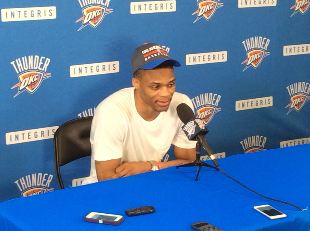 Thunder point guard Russell Westbrook speaks to the media last week during the team's exit interviews at the INTEGRIS Health Thunder Development Center. (Photo By Randy Renner/InsideThunder.com