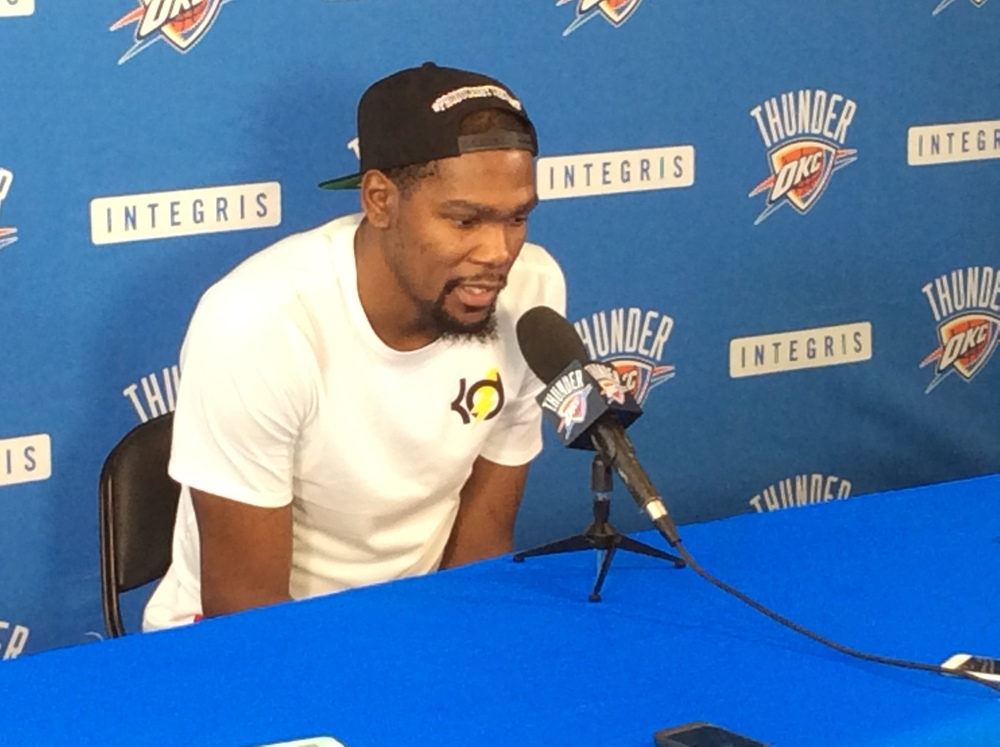 Kevin Durant speaks to reporters earlier this month at the INTEGRIS Thunder Development Center in Oklahoma City. (Photo By: Randy Renner/InsideThunder.com)