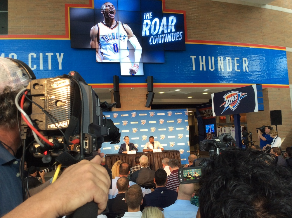 Thunder GM Sam Presti and superstar point guard Russell Westbrook announce a contract extension Thursday at Chesapeake Energy Arena. (Photo By: Randy Renner/InsideThunder.com)