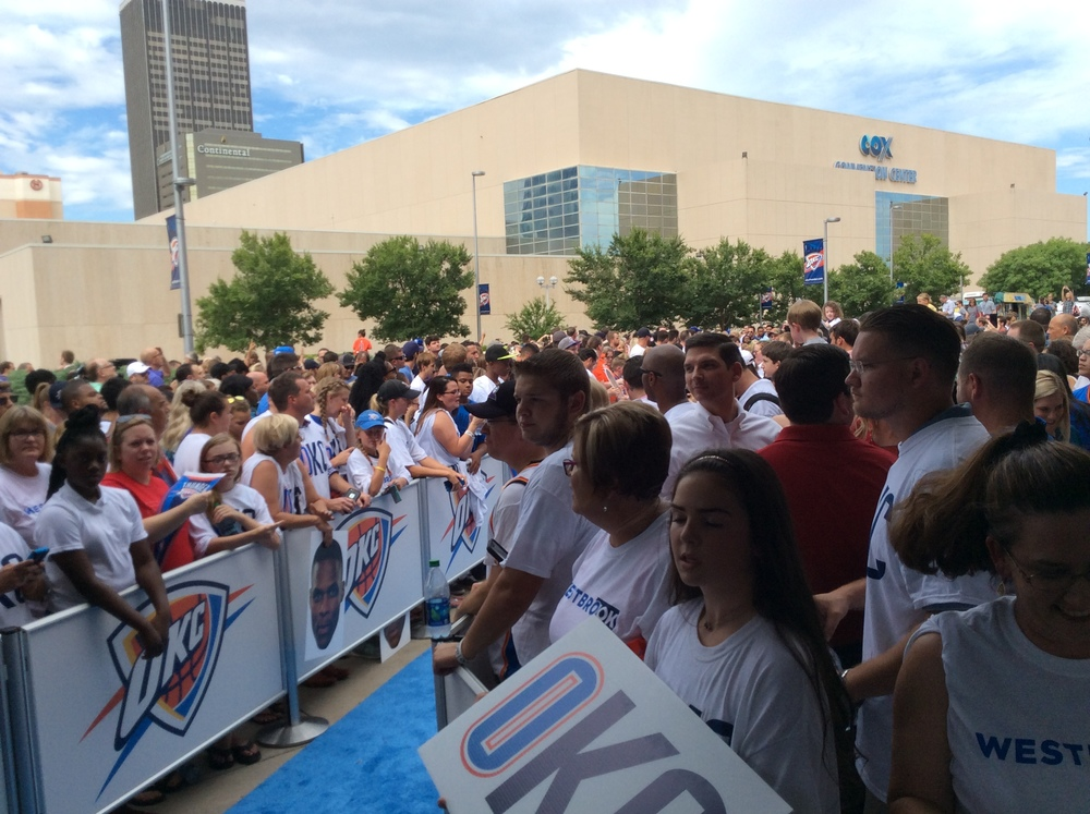 Thunder fans waiting to greet Russell Westbrook outside Chesapeake Energy Arena. (Photo By: Randy Renner/InsideThunder.com)