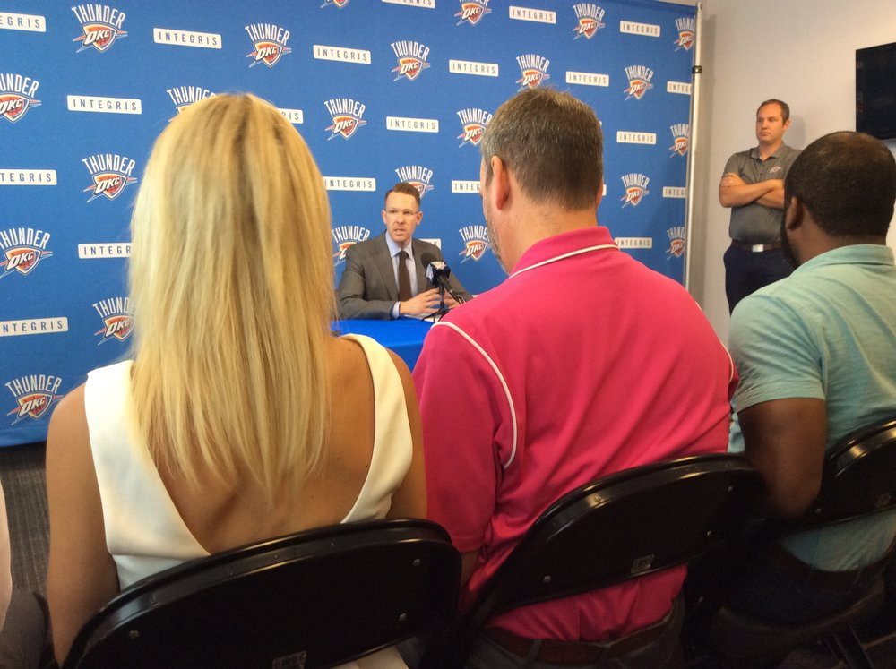 Thunder GM Sam Presti speaks to reporters at the INTEGRIS Health Thunder Development Center. Photo By Randy Renner/InsideThunder.com