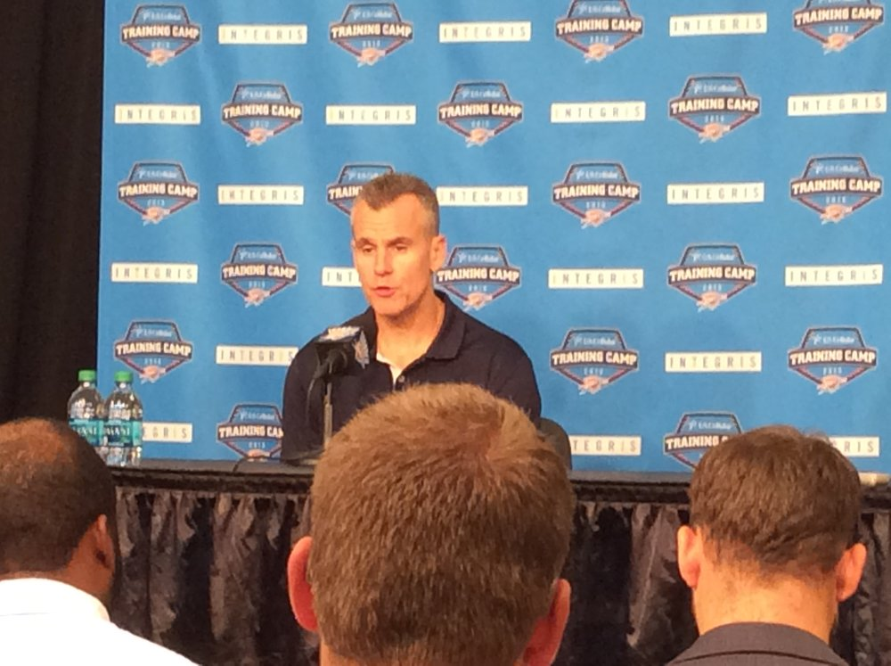 Thunder head coach Billy Donovan speaks to reporters during the team's annual media day at Chesapeake Energy Arena. (Photo By Randy Renner/InsideThunder.com