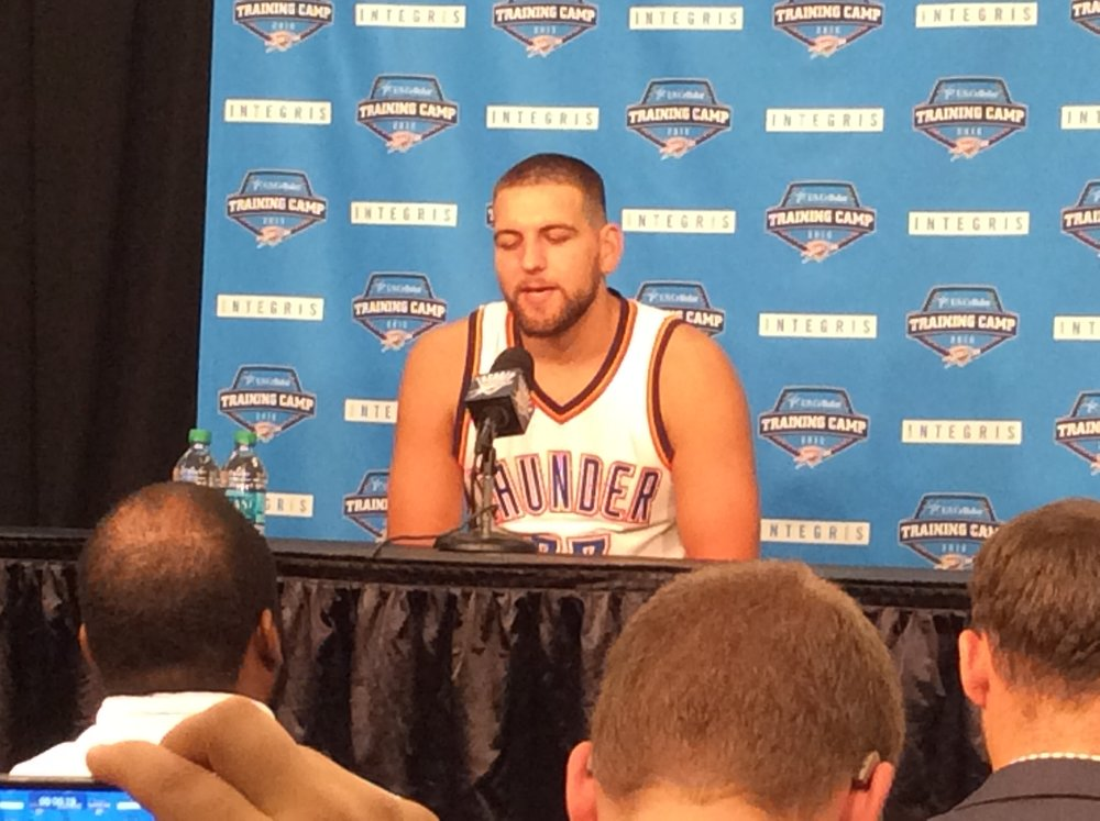 Thunder forward Mitch McGary speaks to reporters during Thunder media Day Friday at Chesapeake Energy Arena. (Photo By Randy Renner/InsideThunder.com)
