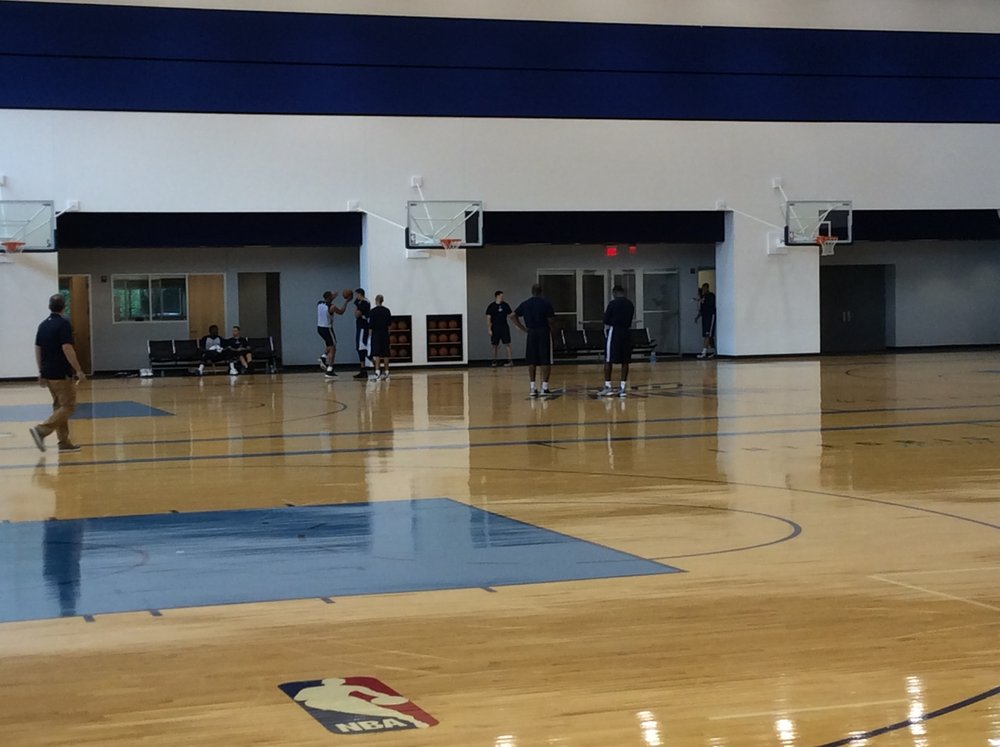 Thunder players and coaches working at the INTEGRIS Thunder Development Center on Sunday. (Photo By Randy Renner/InsideThunder.com)