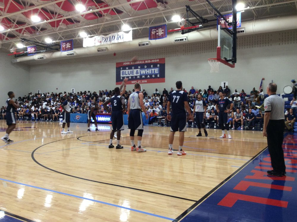 Players line up for free throws at the Thunder Blue/White Scrimmage at OKC's John Marshall High School Tuesday night. (Photo By: Randy Renner/InsideThunder.com)
