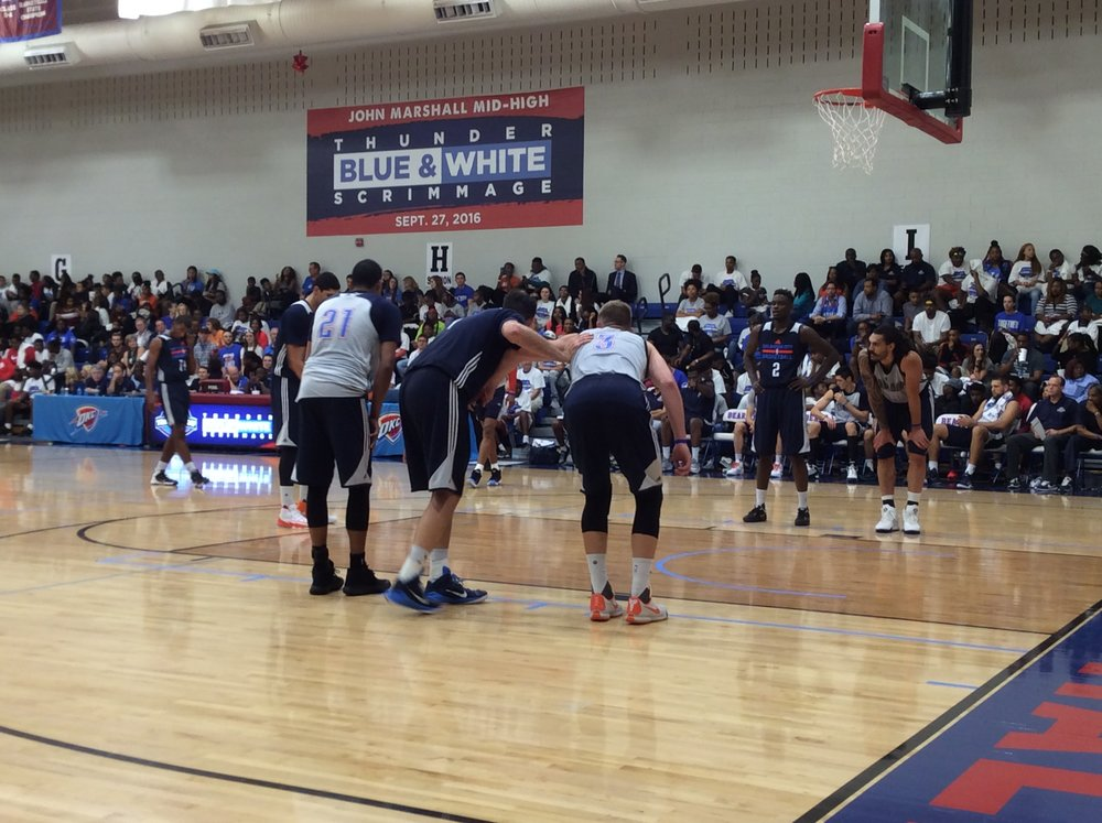 Thunder guard Andre Roberson (#21) lining up with teammates during the Blue/White scrimmage while Enes Kanter takes free throws. (Photo By: Randy Renner/InsideThunder.com)