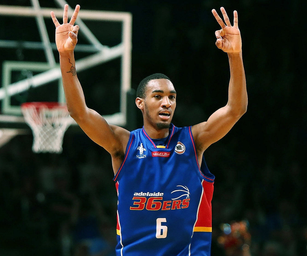 Tulsa native Terrance Ferguson after hitting a 3-pointer last season in Australia. From DraftExpress.com