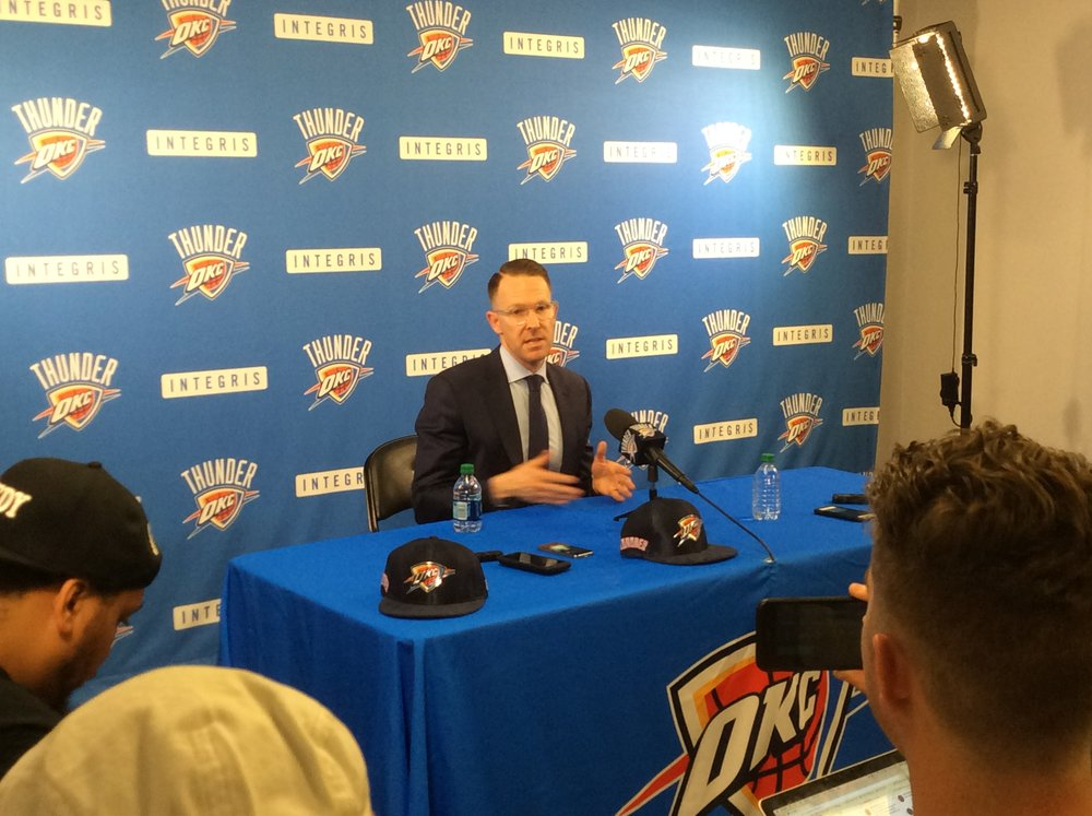 Thunder GM Sam Presti meeting with reporters at the end of Thursday night's NBA Draft. (Photo By Randy Renner/InsideThunder.com)