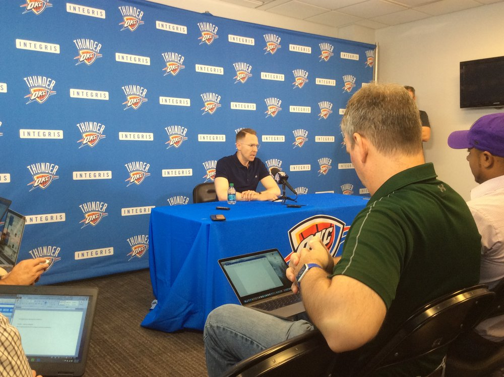 Oklahoma City Thunder general manager Sam Presti speaks to reporters during his annual preseason news conference. Photo By Randy Renner/InsideThunder.com