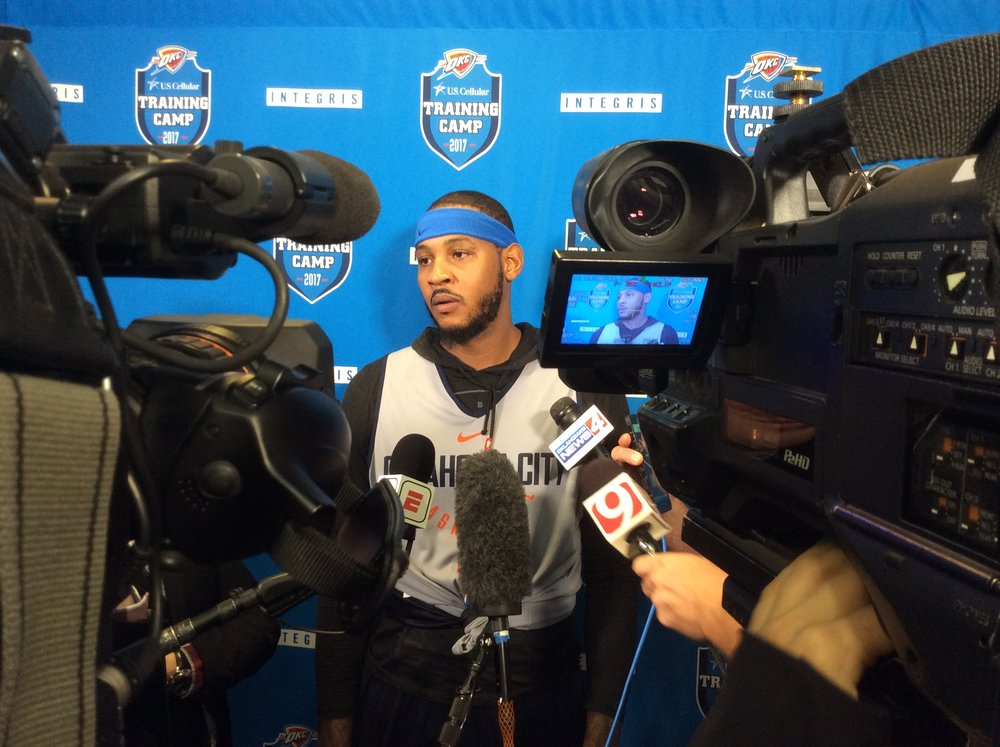 Thunder forward Carmelo Anthony talks to reporters after practice on Tuesday. Photo By: Randy Renner/InsideThunder.com