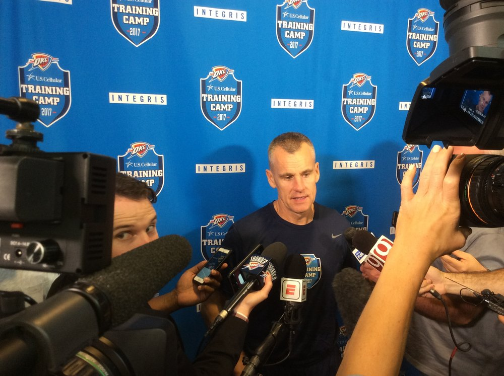 Thunder head coach Billy Donovan talks to reporters after practice at the INTEGRIS Thunder Development Center.