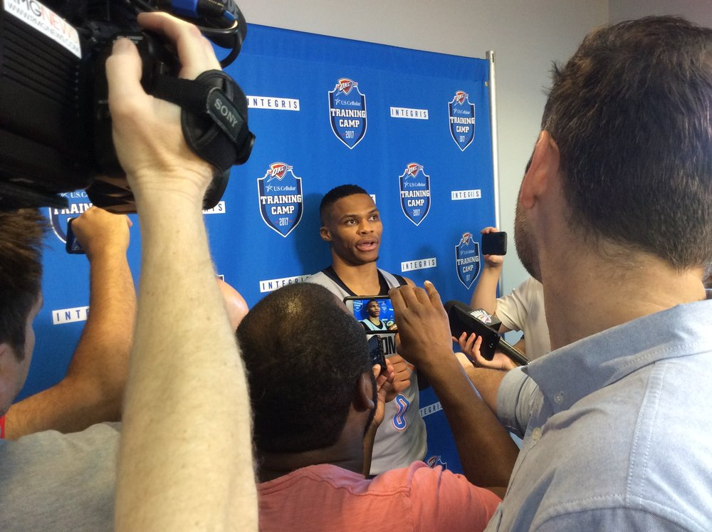 Russell Westbrook talking with reporters after Saturday's practice at the INTEGRIS Health Thunder Development Center.