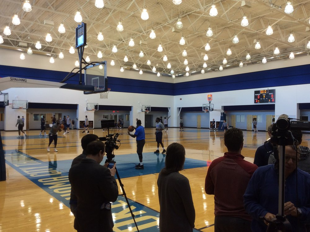 Media members get set up to interview Thunder coach Billy Donovan and players after Tuesday's practice at the INTEGRIS Thunder Development Center. (Photo By: Randy Renner/InsideThunder.com