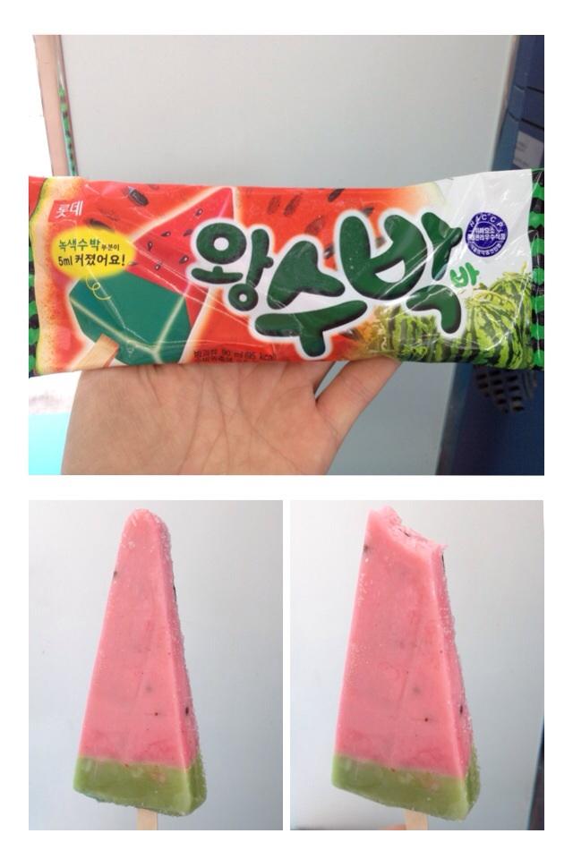 왕수박 (Whang Soo Bak) = King Watermelon  A delicious watermelon flavoured slightly milky ice with bits of chocolate covered nuts (almonds?) representing watermelon seeds. Looks like a watermelon slice, tastes like a watermelon slice!